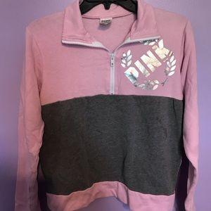 Pink color block sweatshirt